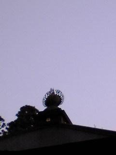 宮城県涌谷町箟岳山の箟峯寺本堂の上空の画像です。