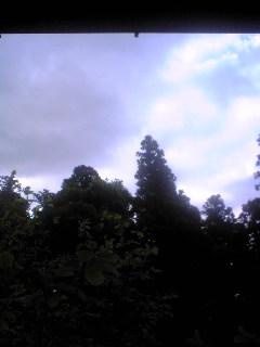 今朝の宮城県涌谷町箟岳山の上空の様子です。