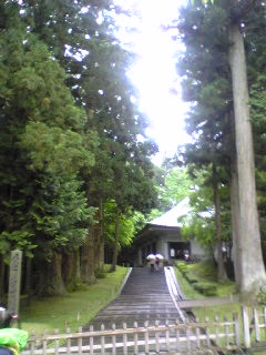 岩手県平泉町中尊寺金色堂前の様子です。